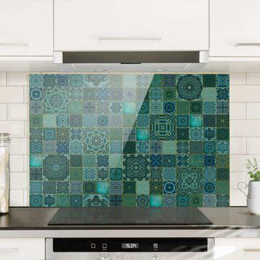 Paraschizzi in vetro - Art Déco piastrelle di marmo verde con luccichio dorato - Formato orizzontale 3:2
