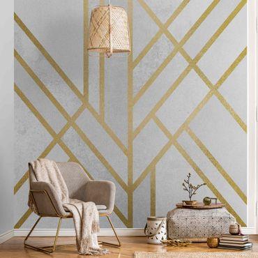 Carta da parati metallizzata - Geometria Art déco in bianco e oro