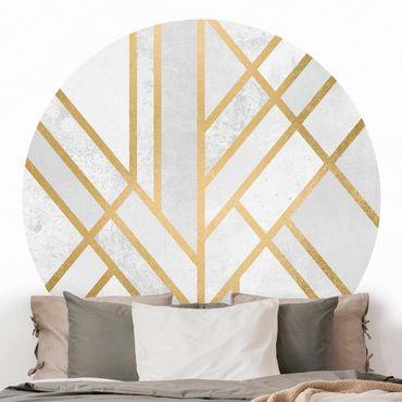 Carta da parati rotonda autoadesiva - Elisabeth Fredriksson - oro bianco Art Deco geometria