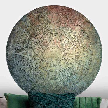 Carta da parati rotonda autoadesiva - ornamentazione Aztec nei circoli