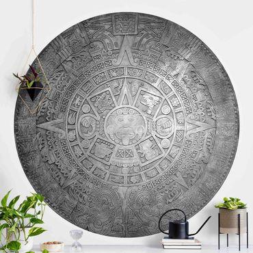 Carta da parati rotonda autoadesiva - ornamento azteca in un cerchio nero e nero