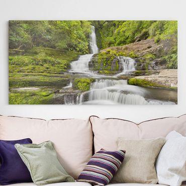 Stampa su tela - Upper Mclean Falls In New Zealand - Orizzontale 2:1