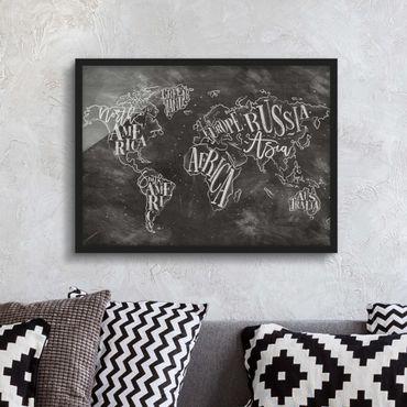 Poster con cornice - Chalk World Map - Orizzontale 3:4
