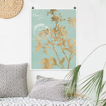 Poster - Foglie d'oro su Turquoise II - Verticale 4:3