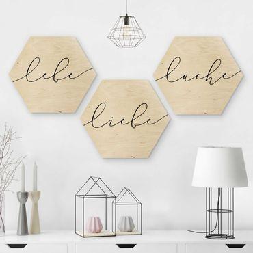 Esagono in legno - Live Love Laugh Calligraphy