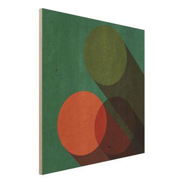 Stampa su legno - Forme astratte - Cerchi in verde e rosso - Quadrato 1:1