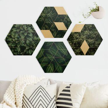 Esagono in Alu-dibond - Green Leaves Geometry Set I