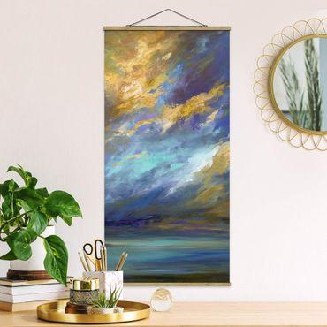 Quadro su tessuto con stecche per poster - Cielo Sopra Costa - Verticale 2:1