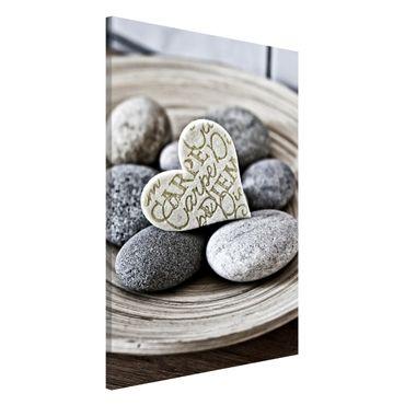 Lavagna magnetica - Carpe Diem di cuore con pietre - Formato verticale 2:3