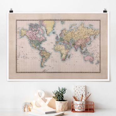 Poster - Mappa del mondo Vintage 1850 - Orizzontale 2:3