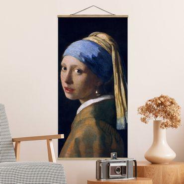 Foto su tessuto da parete con bastone - Jan Vermeer van Delft - Ragazza con l'orecchino di perla - Verticale 2:1