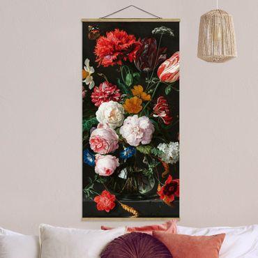 Foto su tessuto da parete con bastone - Jan Davidsz De Heem - Natura morta con fiori in un vaso di vetro - Verticale 2:1