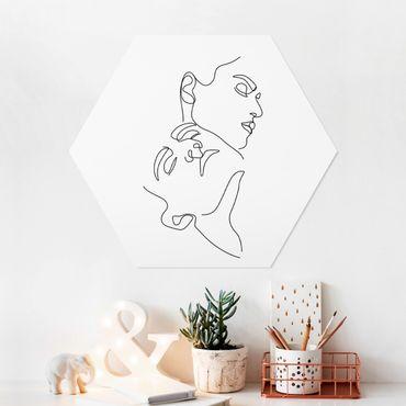 Esagono in forex - Line Art Women Faces Bianco
