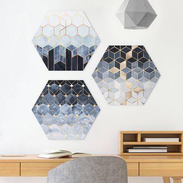 Esagono in forex - Elisabeth Fredriksson - Blu Bianco Oro esagonale Set