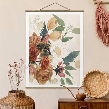 Foto su tessuto da parete con bastone - Disegno Mazzo in rosso e seppia II - Verticale 4:3