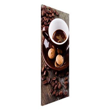 Lavagna magnetica - Fagioli della tazza di caffè con il caffè - Panorama formato verticale