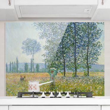 Spritzschutz Glas - Claude Monet - Felder im Frühling - Querformat 3:4