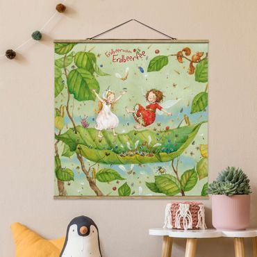 Foto su tessuto da parete con bastone - Strawberry Coniglio Erdbeerfee - Trampolino - Quadrato 1:1