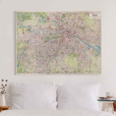 Stampa su tela - Vintage Mappa Berlino - Orizzontale 3:4