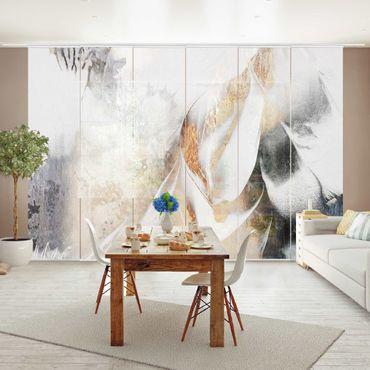 Tende scorrevoli set - Elisabeth Fredriksson - Oro pittura astratta inverno - 6 Pannelli