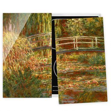 Coprifornelli in vetro - Claude Monet - Lo stagno delle ninfee e Ponte giapponese (Armonia in rosa) - 52x80cm