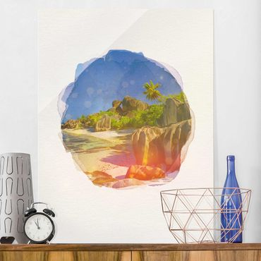 Quadro in vetro - Acquerelli - Dream Beach Seychelles - Verticale 4:3