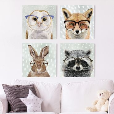 Stampa su tela - Occhialuto Animals Set II - 4 parti