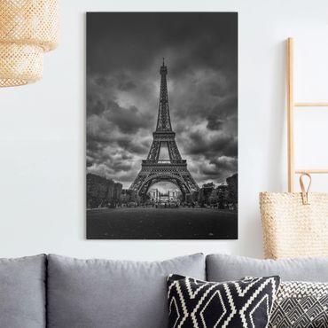 Stampa su tela - Torre Eiffel Davanti Nubi In Bianco e nero - Verticale 2:3