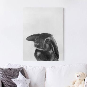 Quadri su tela - Illustrazione Coniglio bianco e nero Disegno