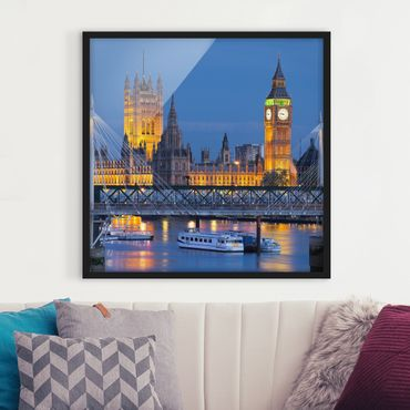 Poster con cornice - Big Ben And Westminster Palace In London At Night - Quadrato 1:1