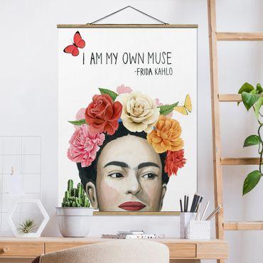 Foto su tessuto da parete con bastone - Pensieri di Frida - Muse - Verticale 4:3
