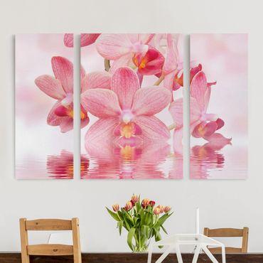 Stampa su tela 3 parti - Pink Orchids On Water - Trittico