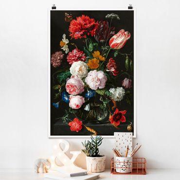 Poster - Jan Davidsz De Heem - Natura morta con fiori in un vaso di vetro - Verticale 3:2