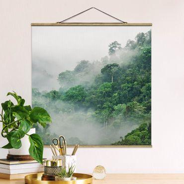 Foto su tessuto da parete con bastone - Jungle Nella Nebbia - Quadrato 1:1