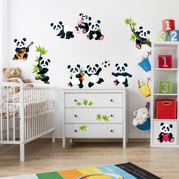 Adesivi murali bambini - Dolci orsetti panda in set grande - Stickers cameretta