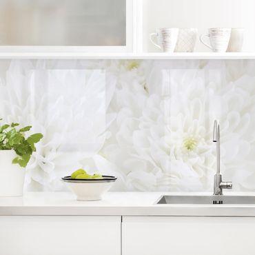 Rivestimento cucina - Mare di dalie in bianco