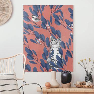 Quadri su tela - Illustrazione Gatto e uccello sul ramo Blu Rosso