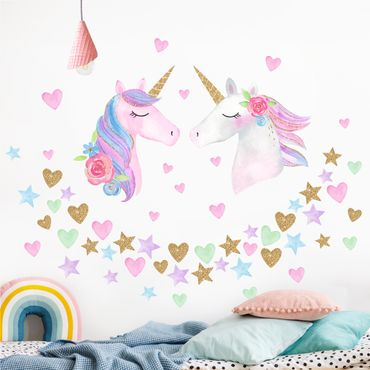 Adesivo murale - Acquerello Unicorn Gold Glitter Set Xl