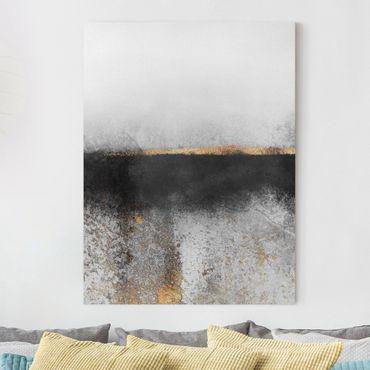 Quadri su tela - Estratto Golden Horizon Bianco e Nero
