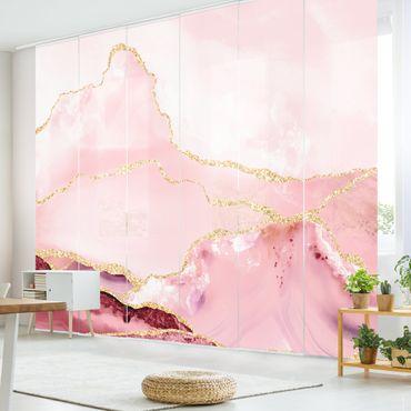Tende scorrevoli set - Estratto Monti rosa con Golden Lines - 6 Pannelli