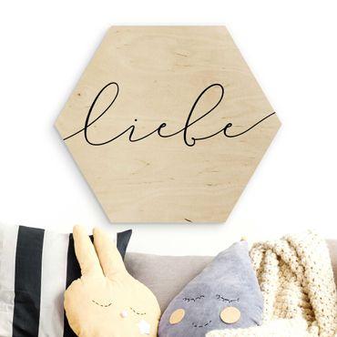 Esagono in legno - amore Calligraphy