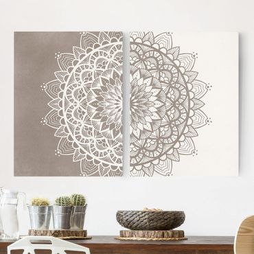 Stampa su tela - Mandala Illustrazione Shabby Set Beige Bianco - Verticale 4:3