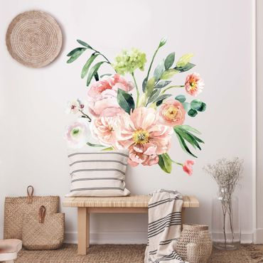 Adesivo murale - Acquerello Pink Flower Bouquet XXL