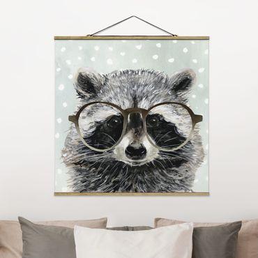 Foto su tessuto da parete con bastone - Animali Occhialuto - Raccoon - Quadrato 1:1