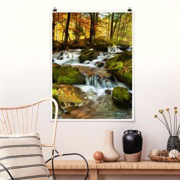 Poster - Cascata bosco autunnale - Verticale 4:3