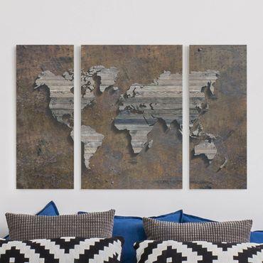 Stampa su tela 3 parti - Wooden grid world map - Trittico