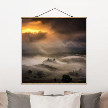 Foto su tessuto da parete con bastone - Nebbia Waves - Quadrato 1:1