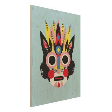 Stampa su legno - Collage Maschera Ethnic - Viso - Verticale 4:3