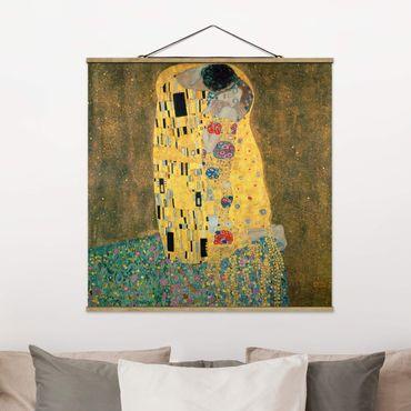 Foto su tessuto da parete con bastone - Gustav Klimt - Il bacio - Quadrato 1:1