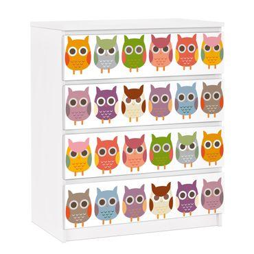 Carta adesiva per mobili IKEA - Malm Cassettiera 4xCassetti - no.EK147 Owl Parade Set II